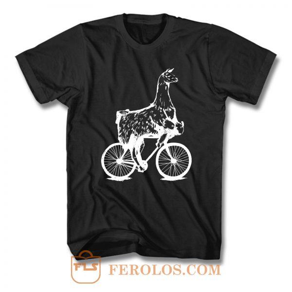 Llama On Bicycle T Shirt