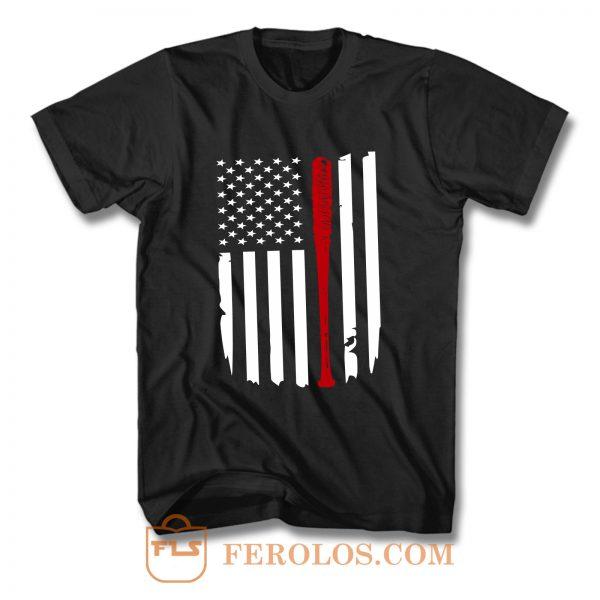 Negans Bat Lucille Flag The Walking Dead Crew Neck Tee T Shirt