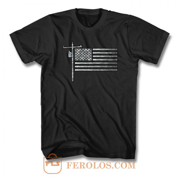 American Flag Lineman T Shirt