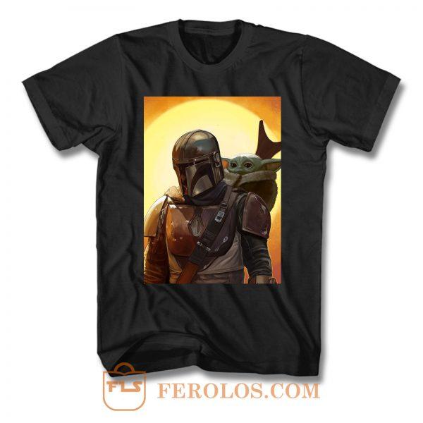 Baby Yoda And Mandalorian T Shirt