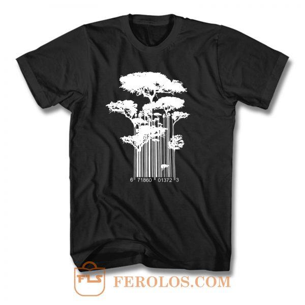 Barcode Nature Tree T Shirt