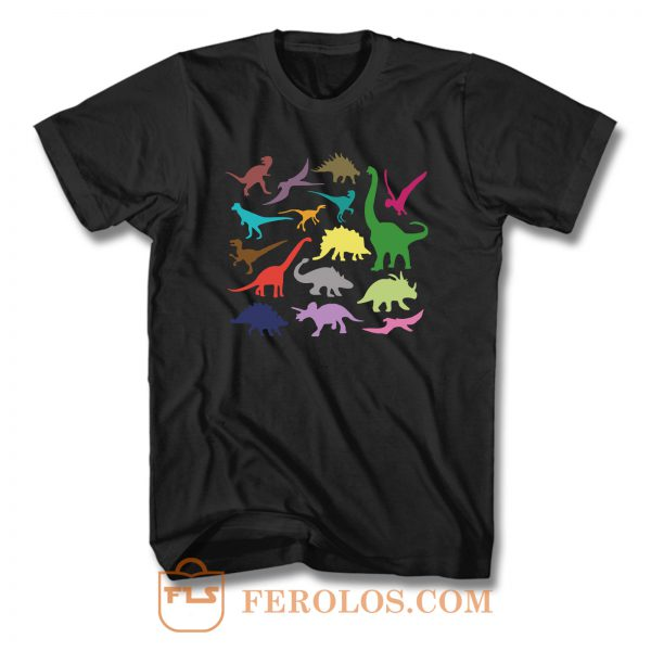 Dinosaur Silhouette Colour T Shirt
