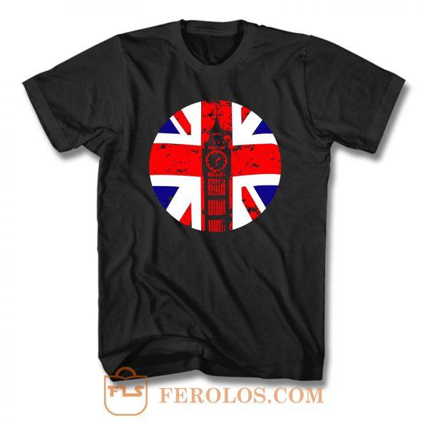 Elizabeth Tower Clock British Flag T Shirt