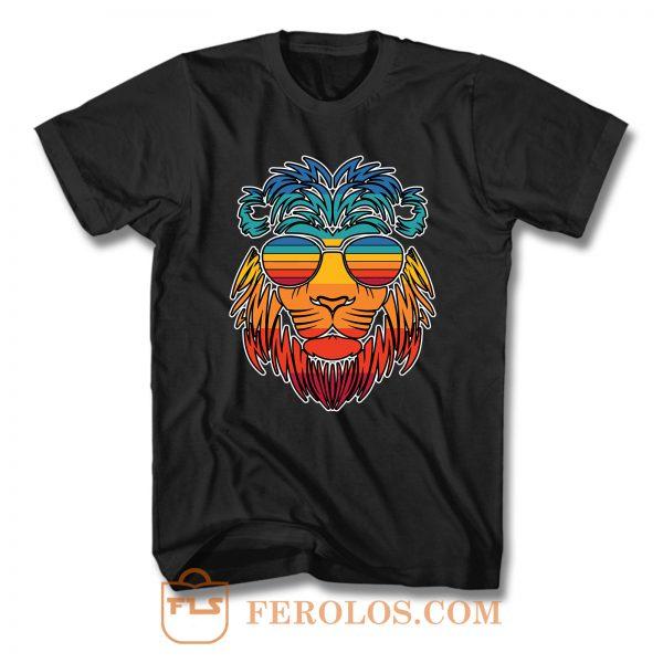Lion Head Summer Vintage Animal Sunglasses T Shirt