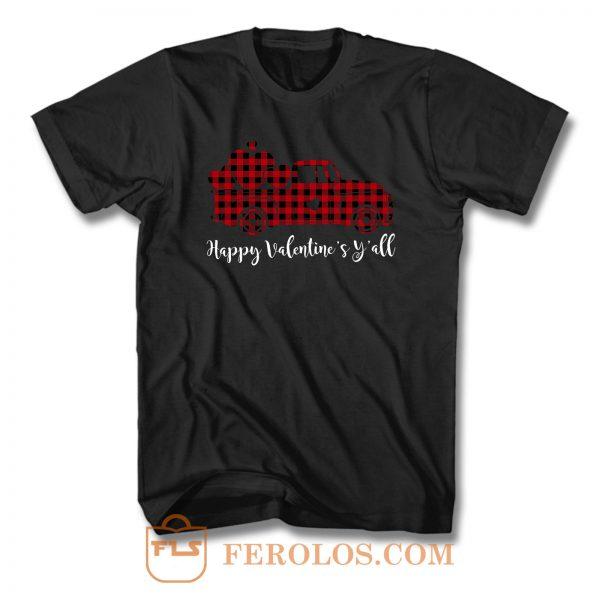 Red Buffalo Plaid Happy Valentines Yall T Shirt