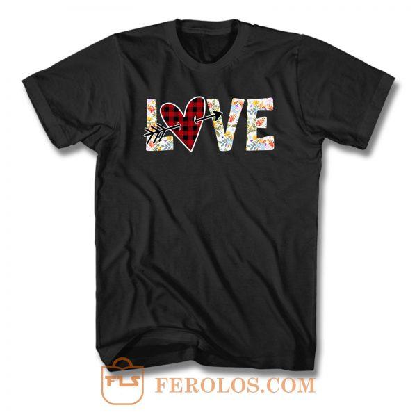 Red Buffalo Plaid Heart Love T Shirt