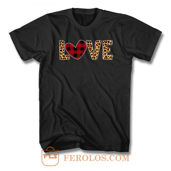 Red Buffalo Plaid Leopard Heart Love T Shirt