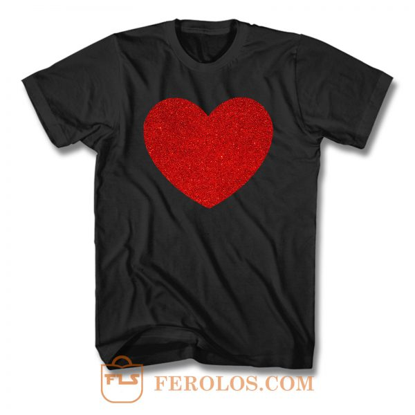 Red Glitter Heart Love T Shirt