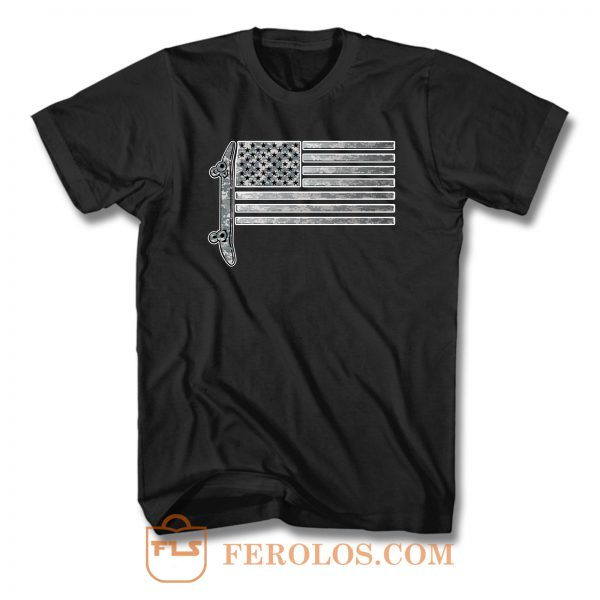 Usa Skateboard Flag T Shirt